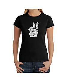 Women's Word Art T-Shirt - Peace Fingers