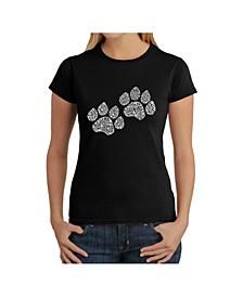 Women's Word Art T-Shirt - Woof Paw Prints