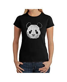 Women's Word Art T-Shirt - Panda Face