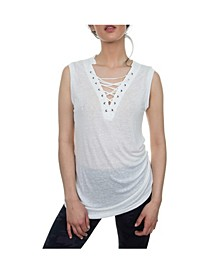 Blue Lace Up Grommet Neckline Sleeveless Top