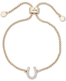 DKNY Gold-Tone Crystal Horseshoe Bolo Bracelet