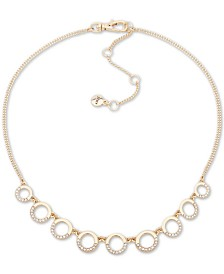 "DKNY Gold-Tone Crystal Round Link Collar Necklace, 16"" + 3"" extender"