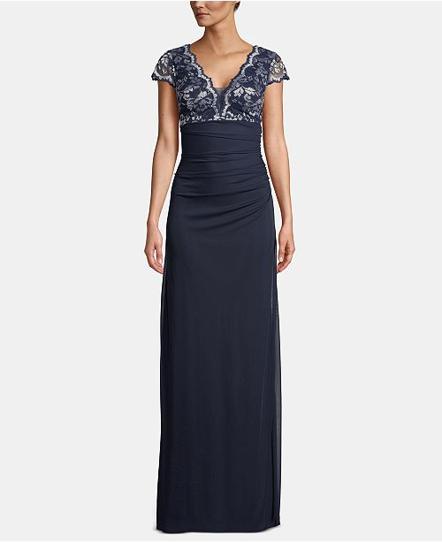 Betsy & Adam Cap-Sleeve Lace-Top Gown