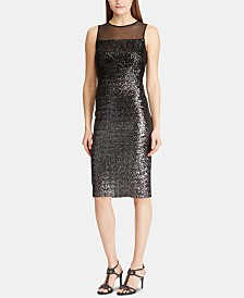 Lauren Ralph Lauren Sequined Sleeveless Cocktail Dress