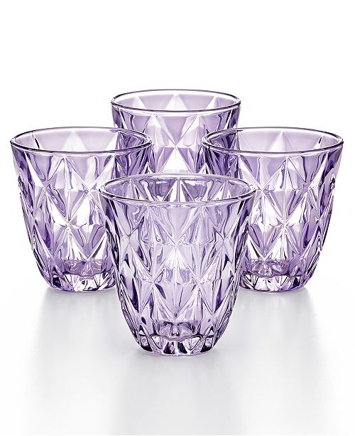 The Cellar Purple Diamond Double Old-Fashioned Glasses, Set of 4, Created for Macy's