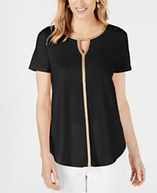 JM Collection Metallic-Trim Keyhole Top, Created for Macy's