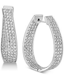 Diamond Oval Hoop Earrings (3 ct. t.w.) in 14k White Gold