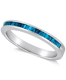 Sterling Silver Ring, Blue Diamond Baguette Ring (1/4 ct. t.w.)