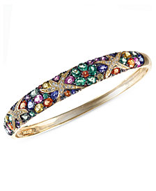 Watercolors by EFFY Multicolor Sapphire (7-5/8 ct. t.w.) and Diamond (1/4 ct. t.w.) Starfish Bangle in 14k Gold, Created for Macy's