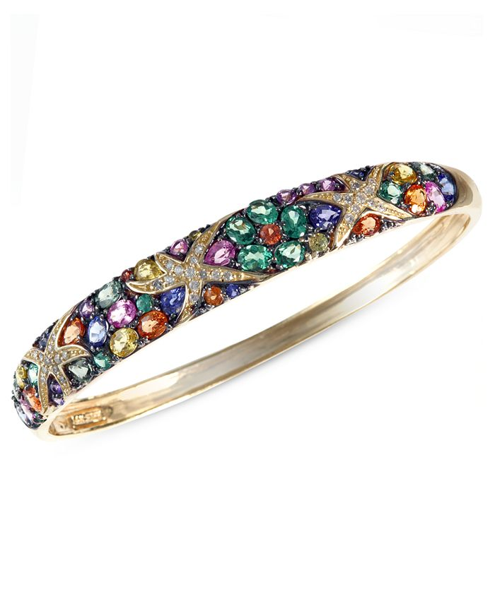 EFFY Collection - Multicolor Sapphire (7-5/8 ct. t.w.) and Diamond (1/4 ct. t.w.) Starfish Bangle in 14k Gold