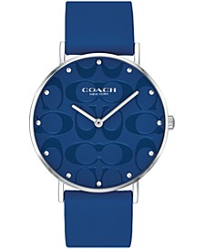 Women's Perry Blue Leather Strap Watch 36mm, Created for Macy's