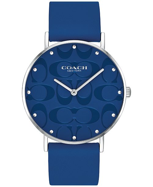 COACH Women's Perry Blue Leather Strap Watch 36mm, Created for Macy's