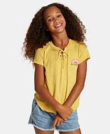 Billabong Big Girls Logo-Print Lace-Up Cotton T-Shirt