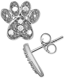 Diamond Dog Paw Stud Earrings (1/10 ct. t.w.) in Sterling Silver
