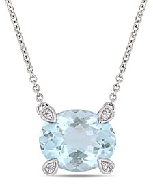 "Aquamarine (2-1/10 ct. t.w.) and Diamond Accent 17"" Necklace in 10k White Gold"