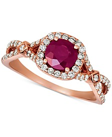 Ruby (1 ct. t.w.) and Diamond (5/8 ct. t.w.) Ring in 14K Rose Gold
