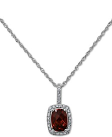 "Peridot (3/4 ct. t.w.) & Diamond (1/10 ct. t.w.) 18"" Pendant Necklace in 14k White Gold (Also Available in Garnet and Blue Topaz)"