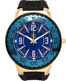 Pendragon Men's Watch Black Silicone Strap, Gold Case, Blue Dial, 53mm