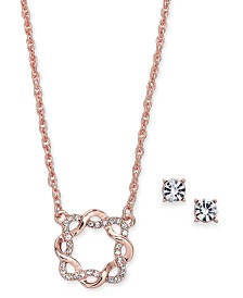 "Charter Club Rose Gold-Tone Crystal Infinity Circle Pendant Necklace & Stud Earrings Set, 17"" + 2"" extender, Created for Macy's"