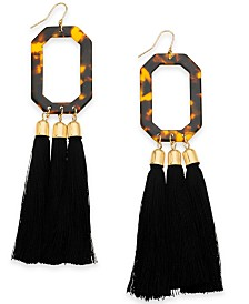 I.N.C. Gold-Tone Tortoise-Look & Tassel Drop Earrings, Created for Macy's