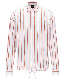 BOSS Men's Norris_P Relaxed-Fit Striped Cotton Overshirt