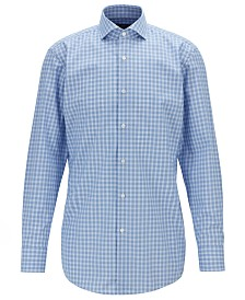 BOSS Men's Mark US Slim-Fit Glen-Check Cotton Shirt