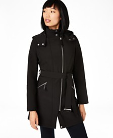 Calvin Klein Asymmetrical Water Resistant Hooded Raincoat, Created for Macy's