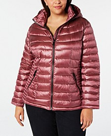 Plus Size Hooded Packable Down Puffer Coat, Created for Macy's