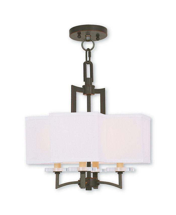 Livex - Woodland Park 4-Light Convertible Mini Chandelier/Ceiling Mount