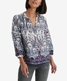 Lucky Brand Printed 3/4-Sleeve Peasant Blouse