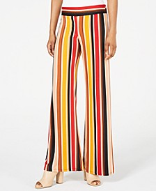 Juniors' Multi-Striped Wide-Leg Pants