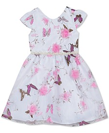 Little Girls Butterfly-Print Organza Dress