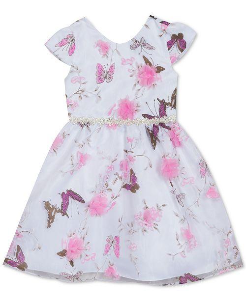 Rare Editions Little Girls Butterfly-Print Organza Dress