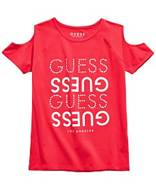 GUESS Big Girls Cold-Shoulder Logo Top