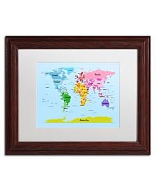 """Michael Tompsett 'World Map for Kids' Matted Framed Art - 14"""" x 11"""""""