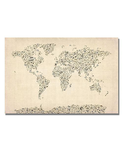 """Trademark Global Michael Tompsett 'Music Note World Map' Canvas Art - 14"""" x 19"""""""