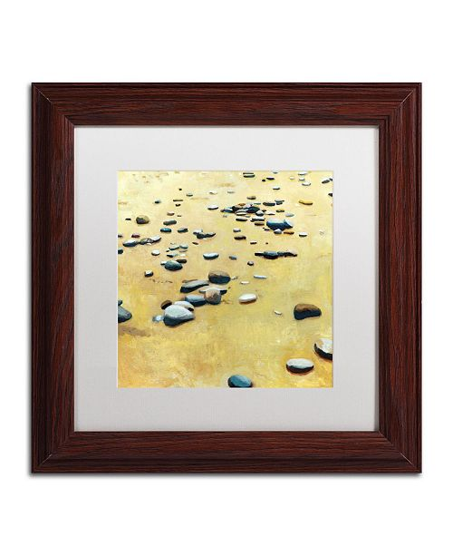 "Trademark Global Michelle Calkins 'Pebbles on the Beach' Matted Framed Art - 11"" x 11"""