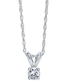Round-Cut Diamond Pendant Necklace in 10k White Gold (1/6 ct. t.w.)