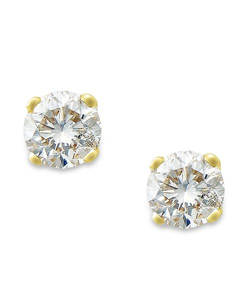 0b6b576ca ... Macy's Round-Cut Diamond Stud Earrings in 10k Yellow or White Gold (1/  ...