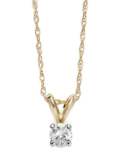 Round-Cut Diamond Pendant Necklace in 10k Yellow or White Gold (1/5 ct. t.w.)