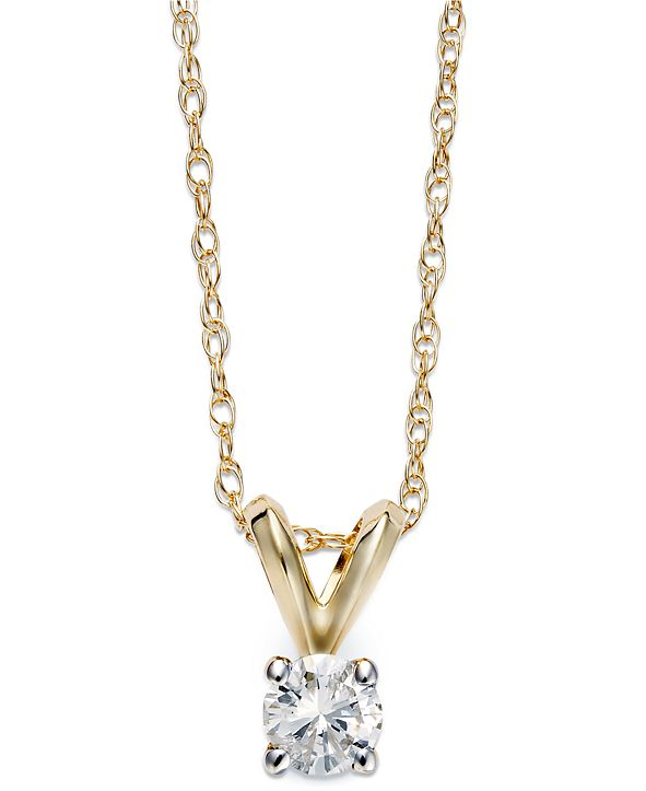 Macy's Round-Cut Diamond Pendant Necklace in 10k Yellow or White Gold (1/5 ct. t.w.)