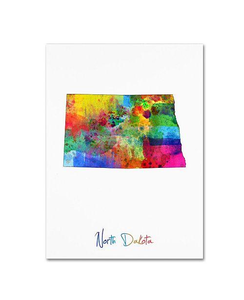 "Trademark Global Michael Tompsett 'North Dakota Map' Canvas Art - 14"" x 19"""