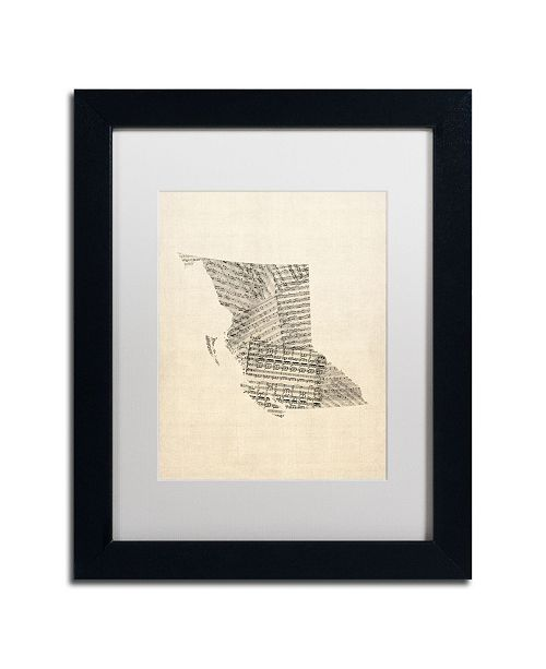 "Trademark Global Michael Tompsett 'Sheet Music Map British Columbia' Matted Framed Art - 11"" x 14"""