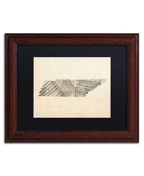 "Trademark Global Michael Tompsett 'Old Sheet Music Map of Tennessee' Matted Framed Art - 11"" x 14"""