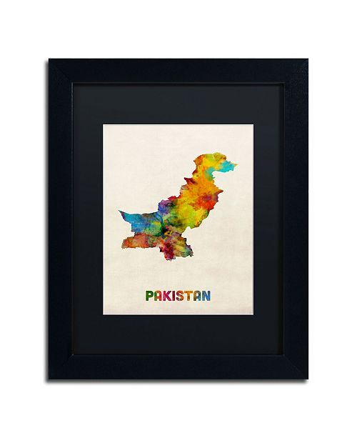 "Trademark Global Michael Tompsett 'Pakistan Watercolor Map' Matted Framed Art - 11"" x 14"""
