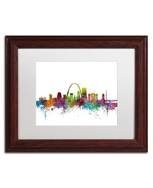 "Trademark Global Michael Tompsett 'St. Louis Missouri Skyline' Matted Framed Art - 11"" x 14"""