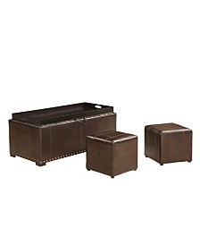 AC Pacific Upholstered Storage Bench with 2 Side Ottoman