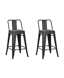 Industrial Metal Barstools with Bucket Back and 4 Legs, Set of 2