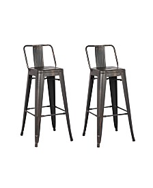 AC Pacific Industrial Metal Barstools with Bucket Back and 4 Legs, Set of 2