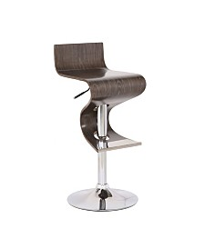 AC Pacific Contemporary Bar Stool with Curved Seat and Back
